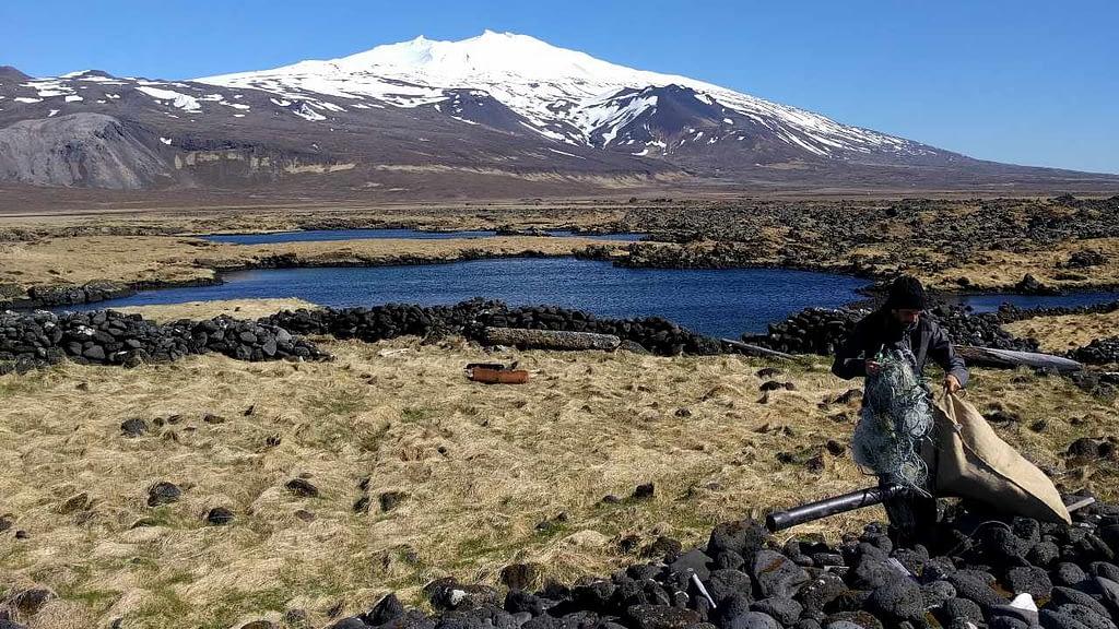 Einnota plast er tímaskekkja, hreinsum plast úr náttúrunni. Hér má sjá mynd frá Norræna strandhreinsunardeginum 2017 á Snæfellsnesi, landvernd.is
