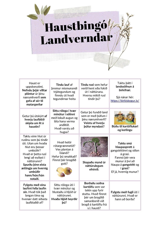 Haustbingó Landverndar, þrautir fyrir fjölskylduna, vini og einstaklinga.