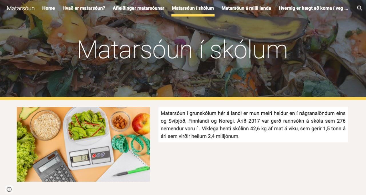 Vefsíðan Matarsóun í skólum varð í öðru sæti í keppninni Ungt umhverfisfréttafólk 2021. Nemendur í Menntaskólanum á Laugarvatni.