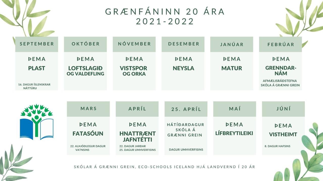 Dagatal afmælisárs grænfánans.