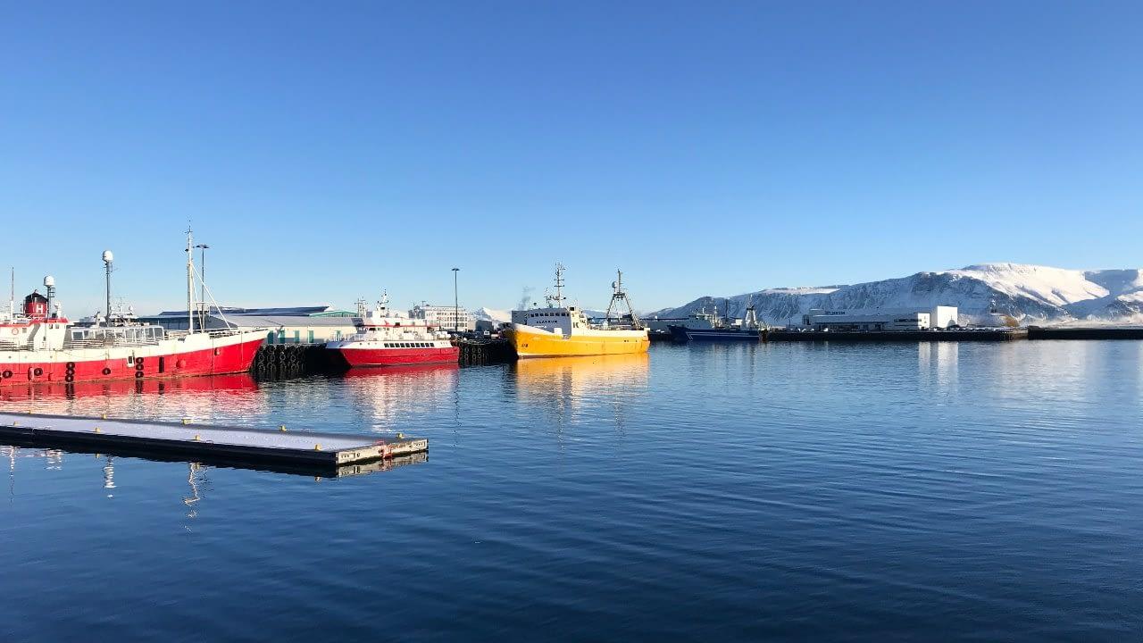 Tvö rauð skip og eitt gult í Reykjavíkurhöfn. Hjálpum þeim að hjálpa hafninu. Hreint haf - plast á norðurslóðum.