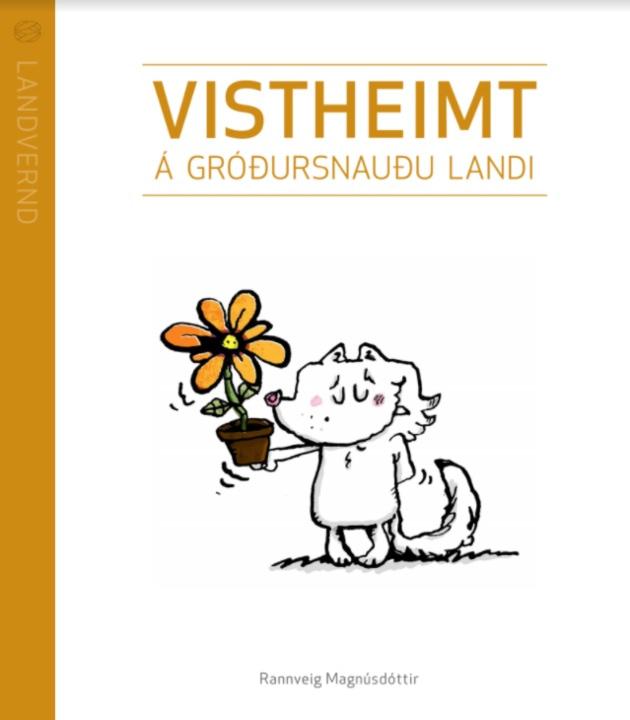 Teiknaður refur með appelsínugult blóm. Forsíða á handbókinni Vistheimt á gróðursnauðu landi.